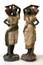 A pair of blackamoors (male and female)