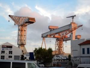 Cranes at a La Ciotat shipyard
