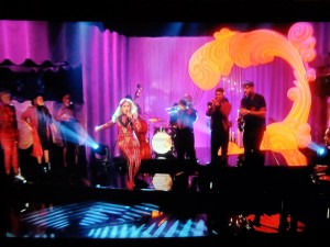 This homage to Hokusai's Wave appeared behind Paloma Faith's outing on Graham Norton's TV show on Friday, 14 February 2014.
